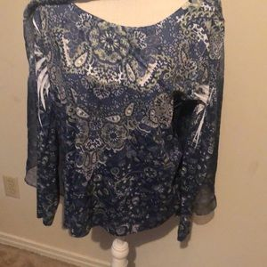 One world tank tee with sheer overblouse. Large